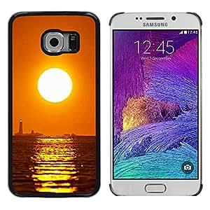 "For Samsung Galaxy S6 EDGE / SM-G925(NOT FOR S6) , S-type Puesta de sol Mar Beautiful Nature 16"" - Arte & diseño plástico duro Fundas Cover Cubre Hard Case Cover"