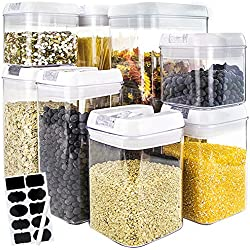 BAKHUK Food Storage Container, Set of 8 Airtight Cereal Dry Food Storage Set BPA Free with 10 blackboard stickers and 1 Chalk - 0.5/0.8/1.2/1.9/3.1L - for Food Preservation