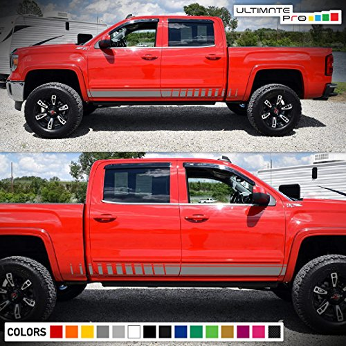 Set of Sport Side Stripes Decal Sticker Vinyl Compatible with GMC Sierra Crew Cab - Sle Crew Cab