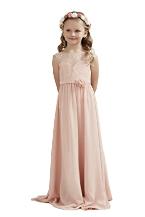 c51afd36b Alivedre Lace Chiffon Junior Bridesmaid Dress Wedding Party Girl DressesUS  4Blush Pink