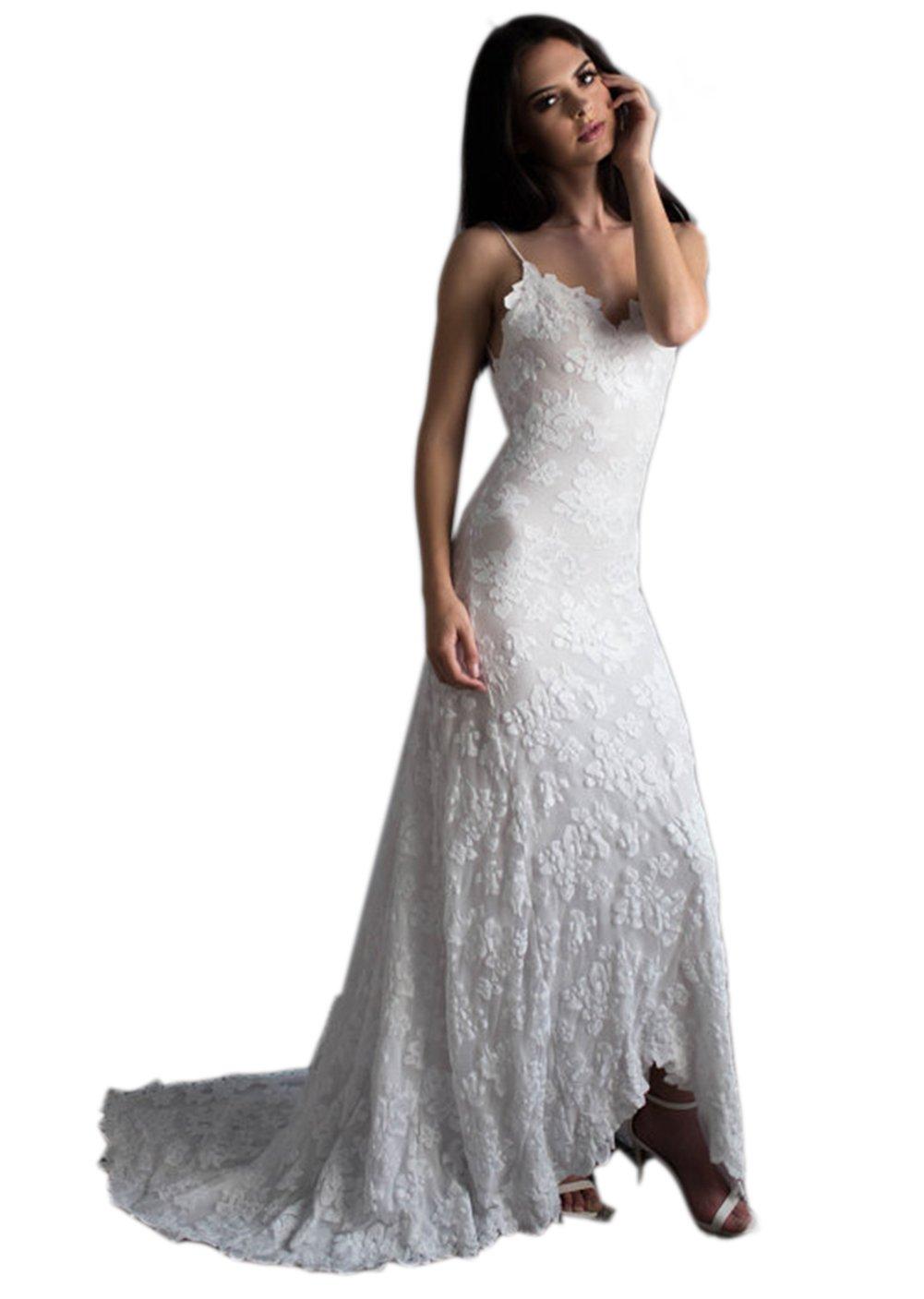 Mordarli Women's Spaghetti Straps Lace V-neck Backless Beach Wedding Dress