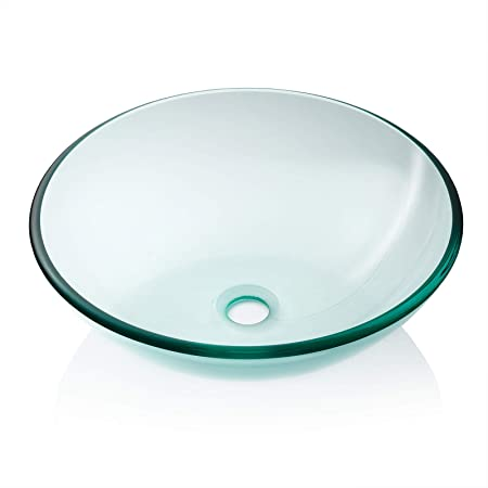 Merveilleux Miligore Modern Glass Vessel Sink   Above Counter Bathroom Vanity Basin  Bowl   Round Clear     Amazon.com