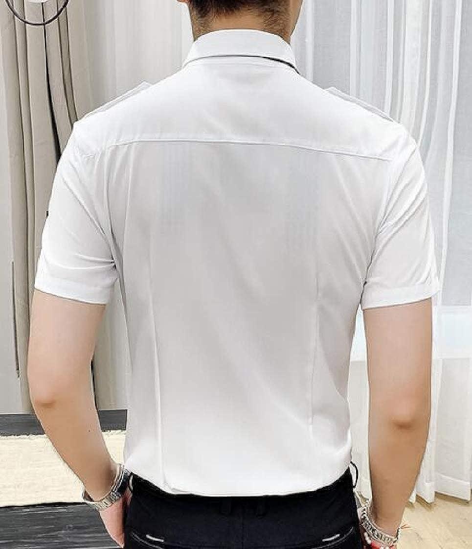 Mens Short Sleeve Slim Fit Epaulette Clubwear Button Down Shirt