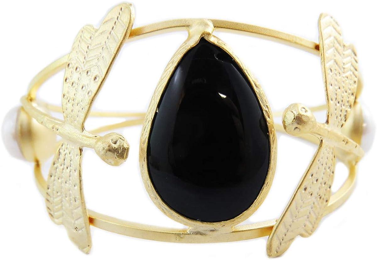 Les Trésors de Lily [Q5610 - Pulsera Hecha a Mano (CCLL é ooppaattrraa) Oro Negro (libélulas) - 70 mm 35 mm.