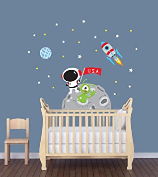 Mini Moon Mission Growth Chart Light Walls Stars, Moon Repositionable Space Wall Decal Growth Chart Rocket
