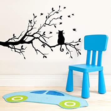 TXX Tatuajes de pared Gato doméstico en una rama de árbol Silueta ...