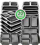 20 Pack Meal Prep Containers 3 Compartment Plastic Food Container with Lids-Divided Bento Lunch Box-Microwave,Dishwasher Safe-Portion Control,21 Day Fix+20 Sporks(36oz)