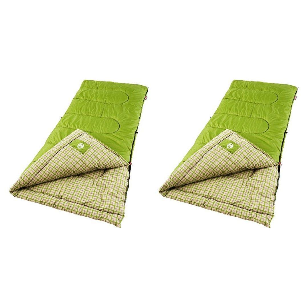Coleman Green Valley 40 Degrees Cool Weather Adult Sleeping Bag, (2 Set, Green) by Coleman