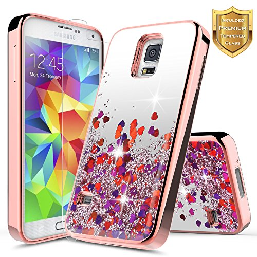 litter Case w/[Tempered Glass Screen Protector], NageBee Glitter Liquid Quicksand Waterfall Flowing Sparkle Bling Girly Cute Case for Samsung Galaxy S5 -Electroplate Rose Gold ()