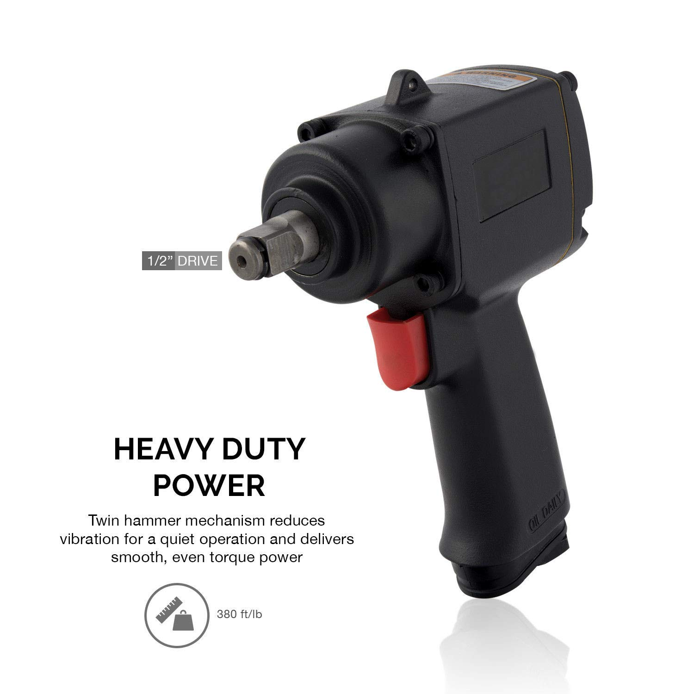 AVGDeals 1/2'' Square Drive Mini Air Impact Wrench | High Torque Super Duty Twin Hammer