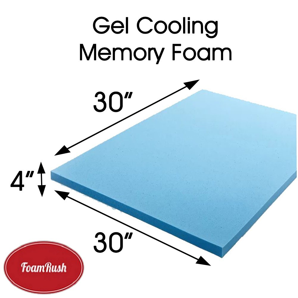 FoamRush 4''x 30'' x 30'' Gel Cooling Memory Square Foam Made in USA.