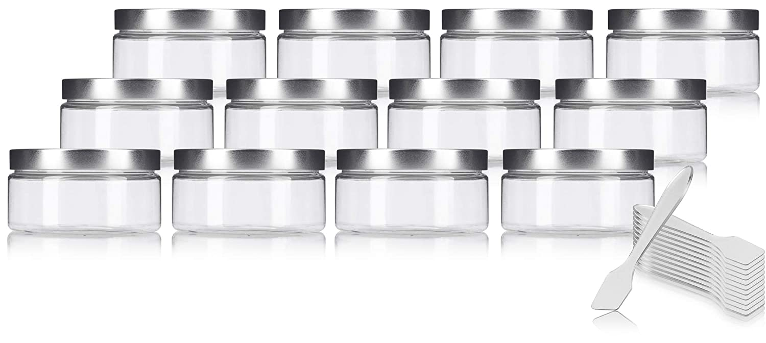 Clear PET Plastic BPA Free Refillable Low Profile Jar with Silver Metal Lid – 8 oz 12 Pack Spatulas
