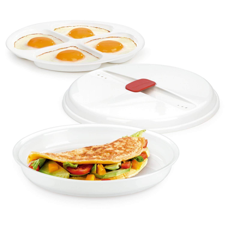 Tescoma Recipiente para Tortillas Y Huevos Purity MicroWav, Blanco, 25.7x21.3x5.2 cm