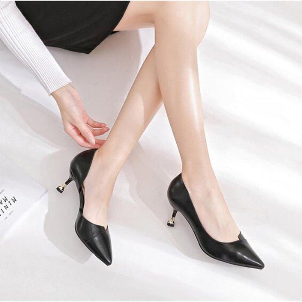 Jingsen Sommer Wilde Trend Koreanische Seite Flach Mund Mund Mund Wein Cup mit Hochhackigen Schuhe Frauen (Farbe   Schwarz Größe   35) 79da19