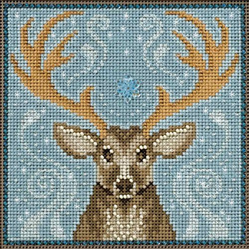 winter stag beaded counted cross