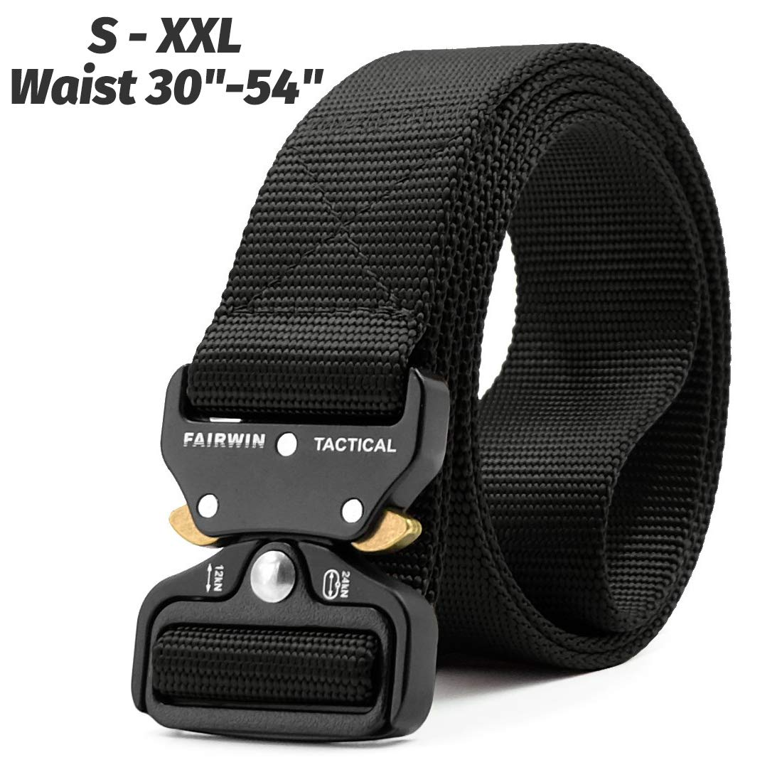 Fairwin Tactical Belt, Military Style Webbing Riggers Web Belt with Heavy-Duty Quick-Release Metal Buckle (Black, Waist 36''-42'')