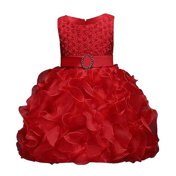 Sweetds Vestidos de Niña Princesa, Vestido de Fiesta de Bautizo de Princesa Ruffle Bowknot Vestido de Fiesta de Bautizo: Amazon.es: Ropa y accesorios