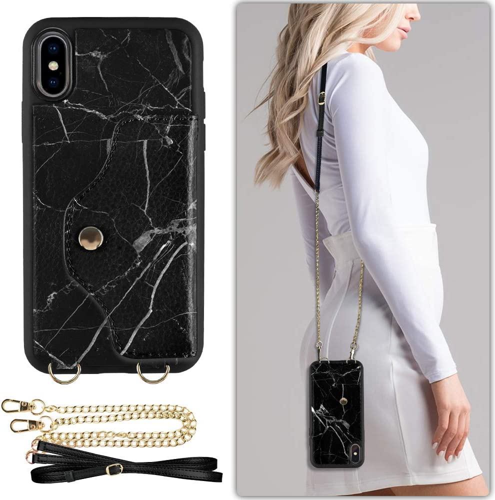 iPhone XS Wallet Case, LAMEEKU iPhone X Case with Credit Card Holder Slot Leather Case, Shockproof Protective Back Cover with Crossbody Chain Strap Wrist Strap for iphone X/iphone XS 5.8