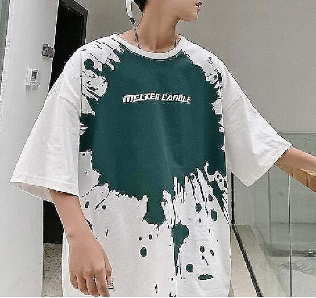 pipigo Men Simple Short Sleeve Top Slim Tee Printed T-Shirt