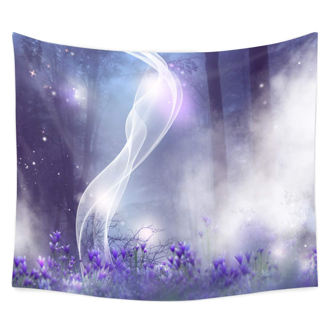 QuanCheng 3D Printing Fantasy Plant Magical Forest Tapestry Art For Home Decor Wall Hanging Tapestry.Multi 59x51Inc