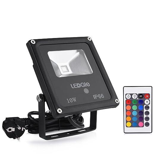 LEDGLE Foco proyector de luces LED, para aire libre 10W Proyector de infrarrojos, con luces LED con mando a distancia