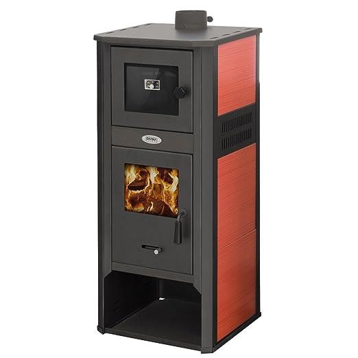 Divina Fire estufa a leña 10 - 12 kW Acero Roja con horno ...