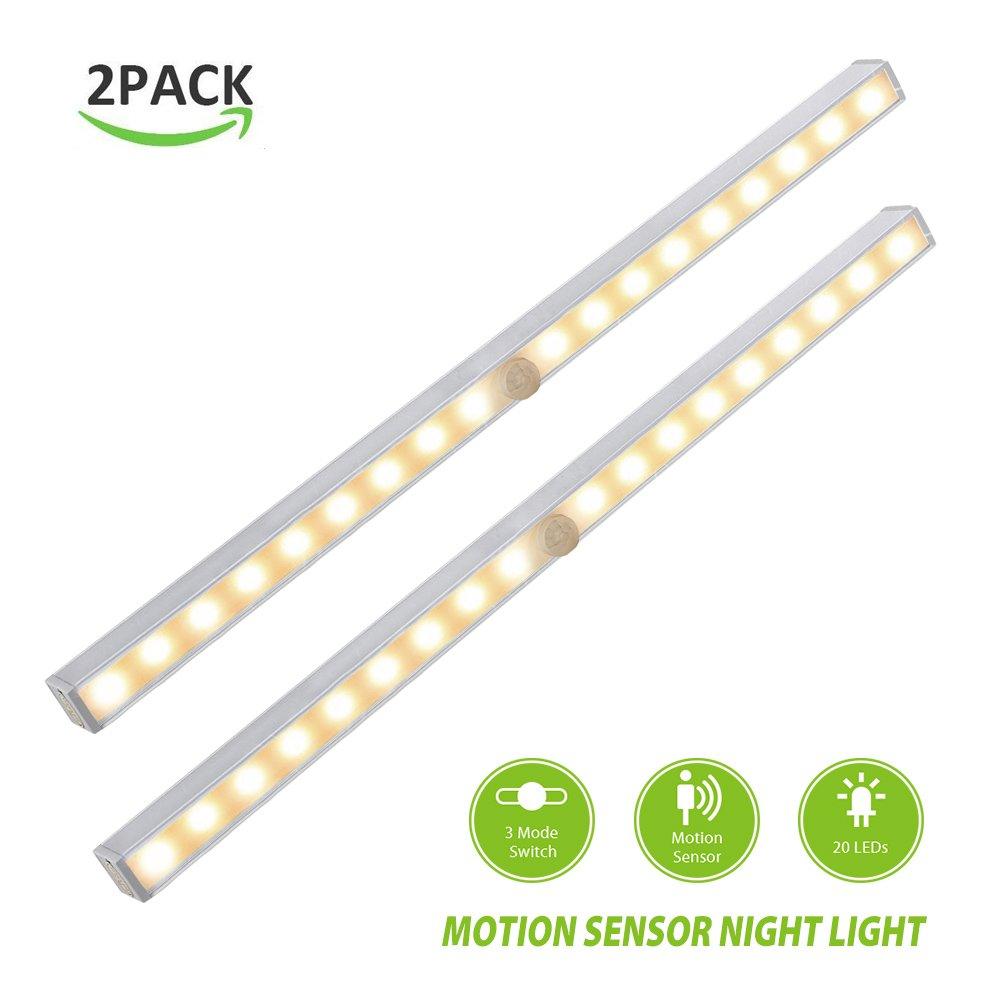 derlsonワイヤレスLEDモーションセンサーライト、クローゼットライト、Undercabinetライト,ナイトライト階段、パス、ガレージ用 DS-WML101Y-P B01G20PV8W 2 Pack (Warm Soft Light) ,Battery Operated 2 Pack (Warm Soft Light) ,Battery Operated