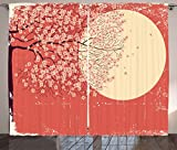 Ambesonne Spring Curtains, Cherry Blossom Sakura Tree Branches on Moon Japanese Style Illustration, Living Room Bedroom Window Drapes 2 Panel Set, 108 W X 90 L Inches, Coral Pale Yellow Plum