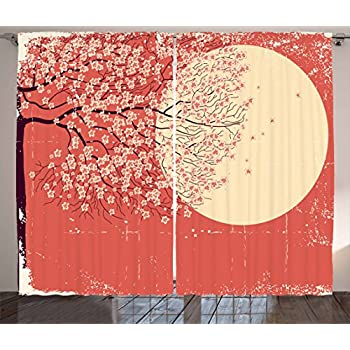 Ambesonne Spring Curtains, Cherry Blossom Sakura Tree Branches on Moon Japanese Style Illustration, Living Room Bedroom Window Drapes 2 Panel Set, 108