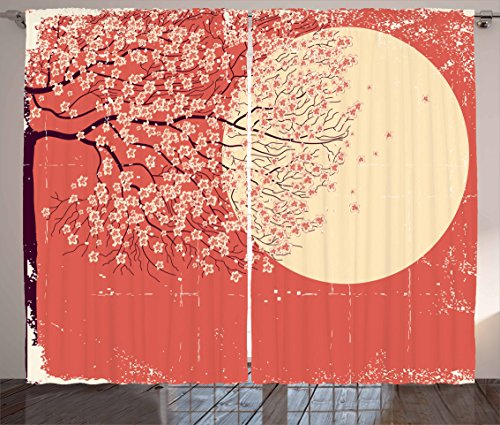 Ambesonne Spring Curtains, Cherry Blossom Sakura Tree Branches on Moon Japanese Style Illustration, Living Room Bedroom Window Drapes 2 Panel Set, 108 W X 90 L Inches, Yellow Coral