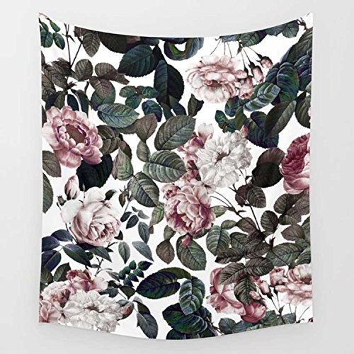 Floral Tapestry Pink Rose Tapestry Beautiful Wall Decor Pink and Gray Home Decor Living Room Bedroom Dorm Room 79x59 Inch