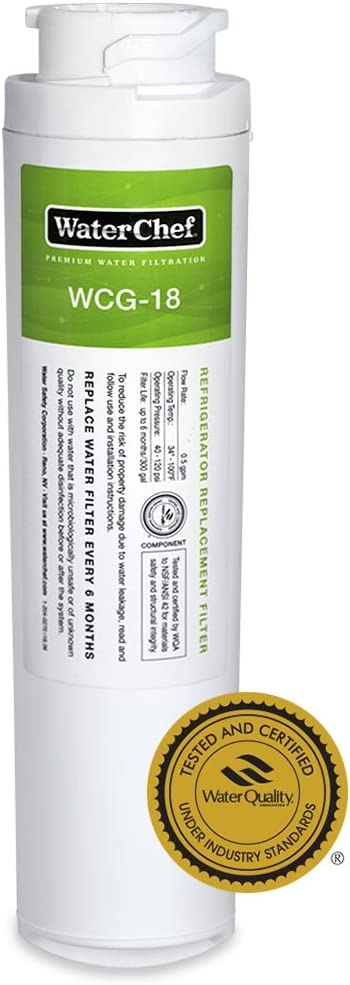 WaterChef WCG-18 Premium Refrigerator Water Filter Replacement for GE MSWF, 101820A, 101821B, WR02X12345, WR02X12801