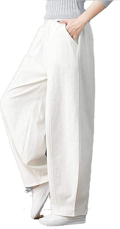 Gran Tamaño 6XL 7XL Casual Suelto Pantalones Largos Cintura Algodón Lino Ancho de la Pierna Pantalones Lantern Pantalones: Amazon.es: Ropa y accesorios