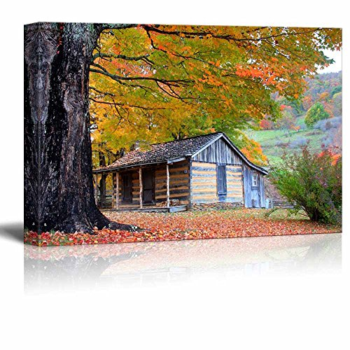 Beautiful Cabin in Fall During Peak Season Home Deoration Wall Decor