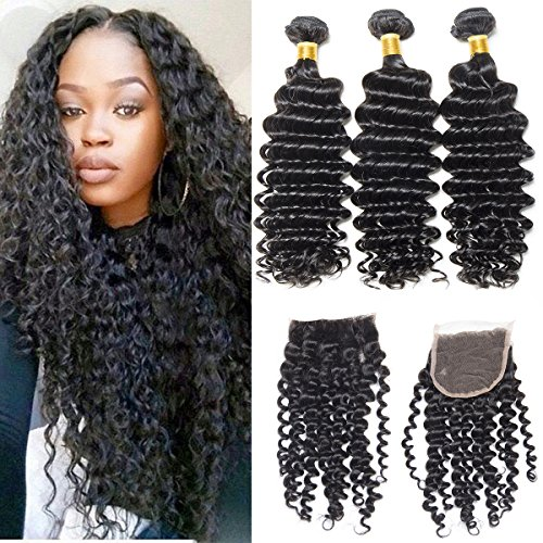 Cheap VIPbeauty Hair Malaysian Virgin Hair Bundle Deals with Closure Curly Wave Unprocessed Human Hair Extension with Free Part Closure (10 12 14+10)