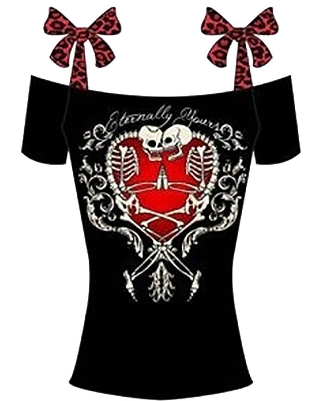 FISACE Women's Bowknot Skull Print Cold Shoulder T Shirt Short Sleeve Tops Plus Size