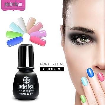 Amazon Com Porter Beau 8ml Nail Art Soak Off Gel Polish 8 Color