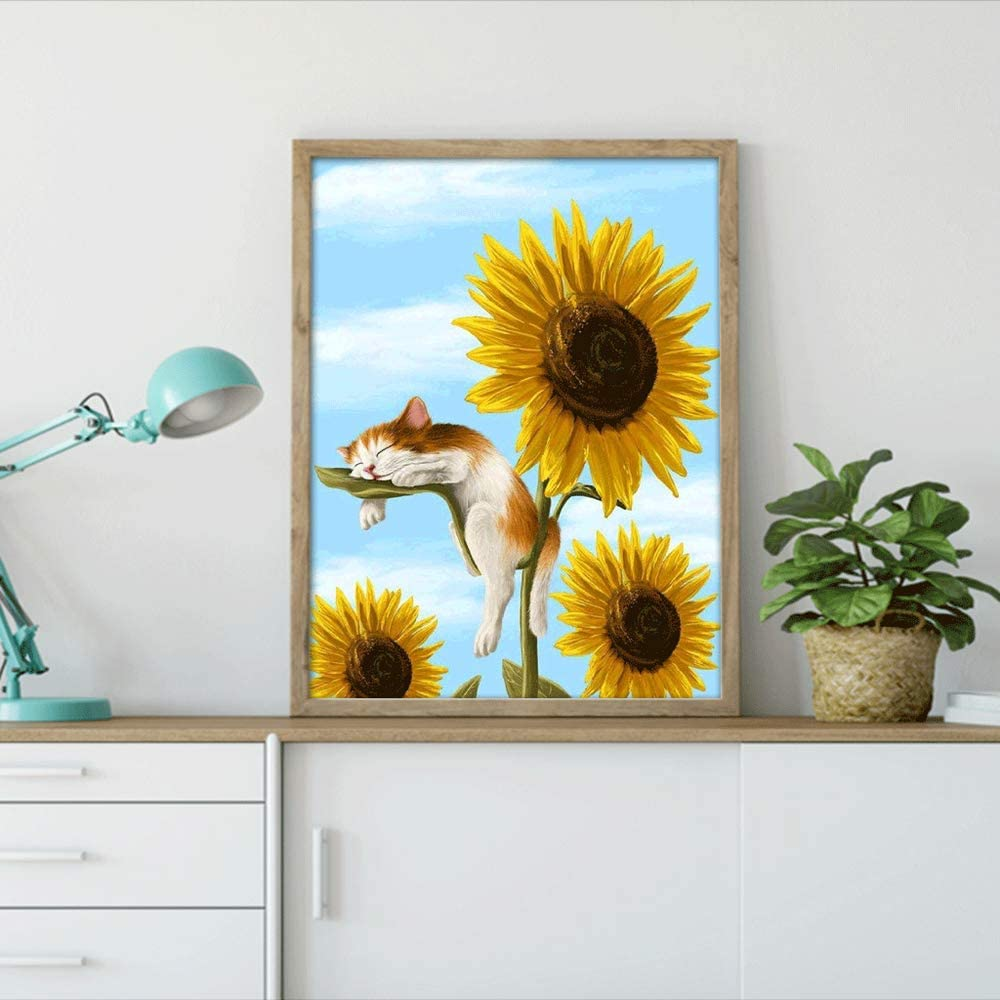 25.5D Diamond Painting Accessories,Diamond Painting Kits for Adults Sunflower cat Decor Rhinestone Embroidery Cross Stitch Kits Supply Arts Craft Canvas 13x17 inches
