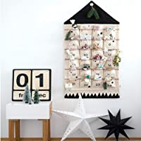 JapanAmStore Christmas Advent Calendar with 24pcs Pockets for Door Wall Hanging Bag Xmas Decorations