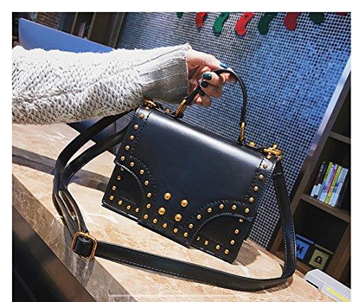 Rrock Woman's Purse Solid Color Shoulder Bag Messenger Bag Messenger Bag Three Colors, Purple Black