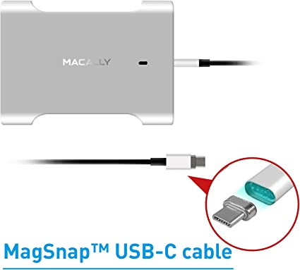 Macally USB-C Charger with Magsafe Magnetic Type-C Charging Cable for Apple MacBook Pro 13