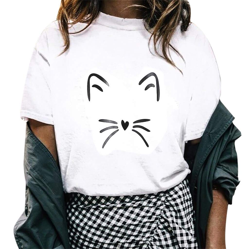 Womens T Shirts Short Sleeve,Women O-Neck Girl Summer Casual Crewneck Print Tops Tee Shirts Blouse