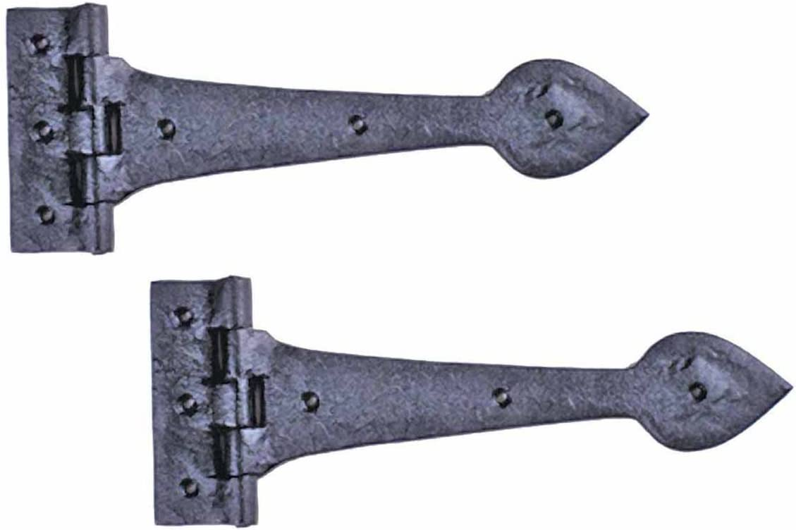 Renovators Supply Manufacturing 2 Door Strap Hinges Heart Tip Rough Forged Iron 10
