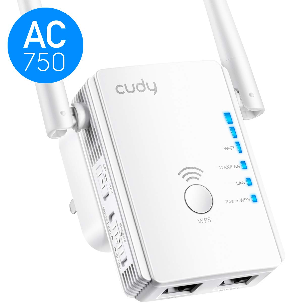 Cudy AC750 Dual Band WiFi Range Extender, 750Mbps WiFi Booster, Access Point Mode, 2 LAN Ports, WPS, Extends 2.4G and 5G WiFi Range to Smart Home & Alexa Devices (RE750)