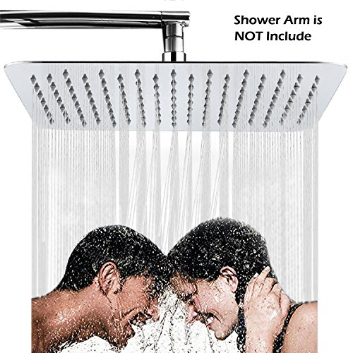 Showerheads For the Bathroom 12 Inch Stainless Steel Square Adjustable Fixed Rainfall Shower Head High Pressure with Chrome Finish,For the Best Relaxation and Spa