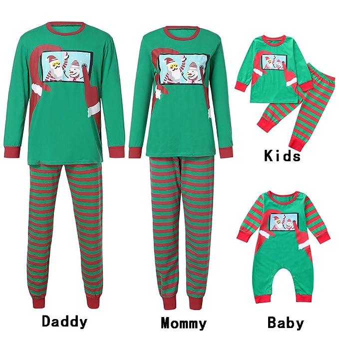 POLP Niño Navidad Ropa niñas Unisex Pijama Bebe Navidad Regalo Estampado de Navidad Manga Larga de Santa Claus Tops y Pantalones Padres e Hijos ...
