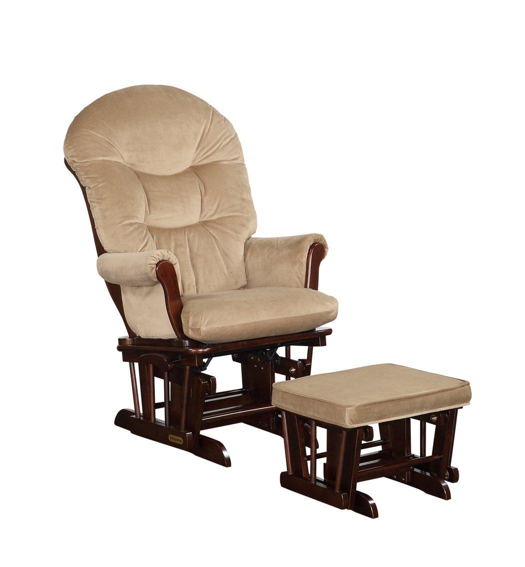 Shermag Combo Glider Chair and Ottoman, Dark Walnut Coffee