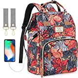 Diaper Bag Backpack with USB Charging Port and Stroller Straps, Maternity Nappy Bag with Insulated Feeding Bottle Pockets