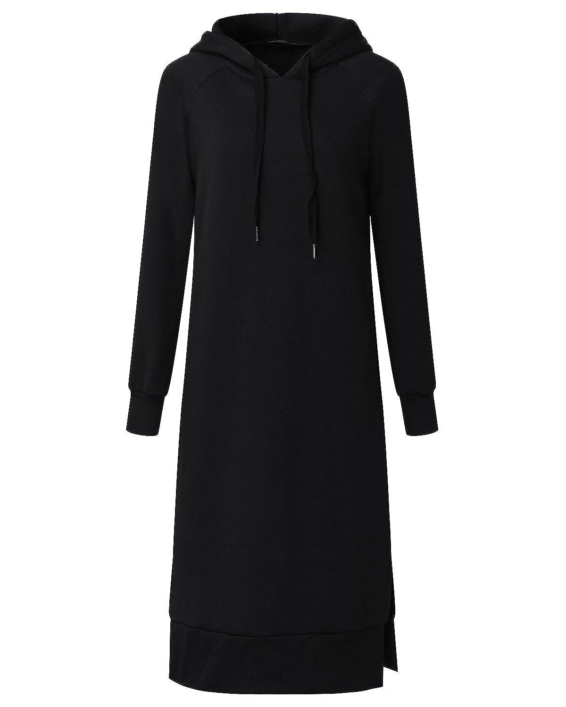 211f3f9c88b ZANZEA Women s Hoodies Sweatshirt Long Sleeve Hooded Kaftan Pullover Casual  Loose Dress at Amazon Women s Clothing store