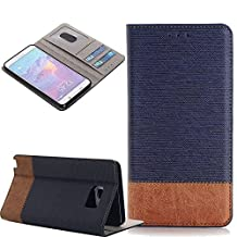 Galaxy Note 5 Case, Pandawell™ PU Leather Magnetic Folio Wallet Case [Stand Feature] with ID & Credit Card Slots for Samsung Galaxy Note 5 + Screen Protector (Brown/Navy Blue)